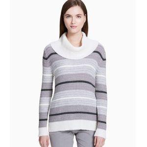 NEW Calvin Klein Mixed Striped Cowl Neck Sweater
